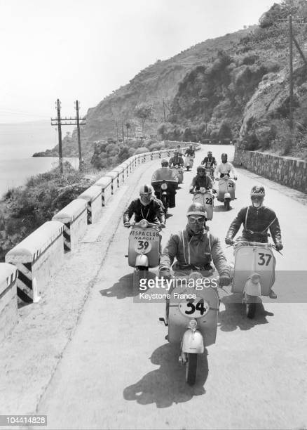 Vespa moped race took place along the bay of Naples in Italy on May 30 1957