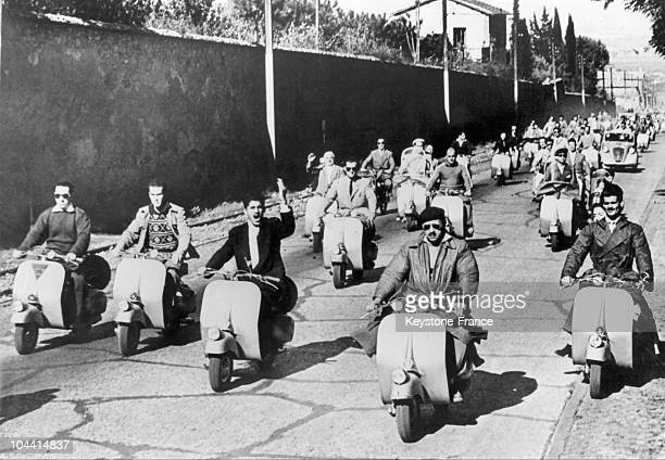 'Vespa' Scooter race from Roma in Italy in 1949