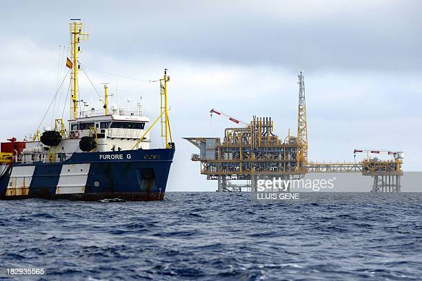 A vessel navigates near a platform part of the Castor Project located in the Ebro Delta off the coast of Alcanar stands at sea on October 2 2013...