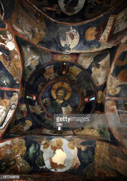 Vessela Sergueva A view at the medieval frescoes at the Boyana church on the outskirts of Sofia on October 2 2008 The small 13thcentury church on the...