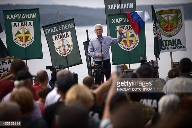 Vessela SERGUEVA ''Russia divides Bulgarians ahead of vote'' Leader of the ultranationalist Ataka party Volen Siderov gives a speech to supporters...
