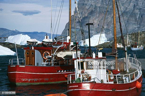 Vessels in Umanak port Qaasuitsup Greenland