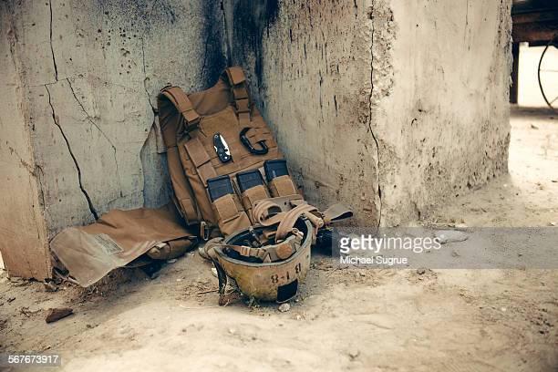 Vest, equipment and helmet worn by US Marines.
