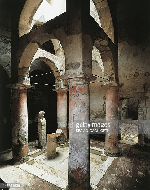 Vestibule of the Suburban Baths illuminated by a skylight on four columns and two rows of arches Herculaneum Campania Roman Civilisation 1st Century