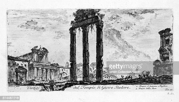 Vestiges of the Temple of Jupiter Stator Italy 1749 This print by John WiltonEly depicts an imagined architectural feature from an etching by the...