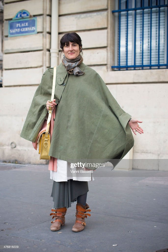 Vestoj's Editor-in-Chief Anja Aronowsky Cronberg in a vintage outfit before Dries Van Noten show at the Hotel de Ville on February 26, 2014 in Paris, France.