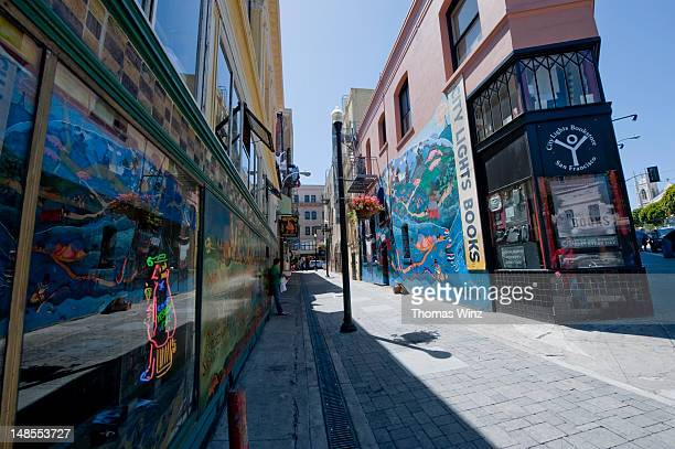 Vesuvio bar and City Lights Bookstore in Jack Kerouac Alley.