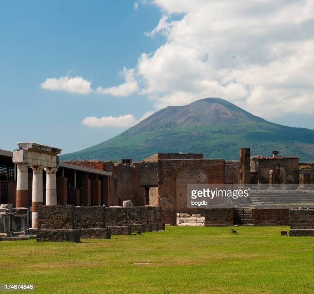 Vesuvius and the ruins of Pompeii on a bright cloudy day