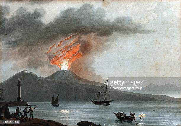 Vesuvius during one of its early 19th century eruptions viewed from the Bay of Naples Italy In centre foreground fishermen are using flare to attract...