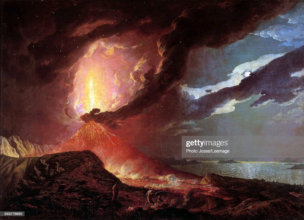 Vesuvius in eruption with a view over the islands in the Bay of Naples 1776 Painting by Joseph Wright of Derby 1776 Private collection