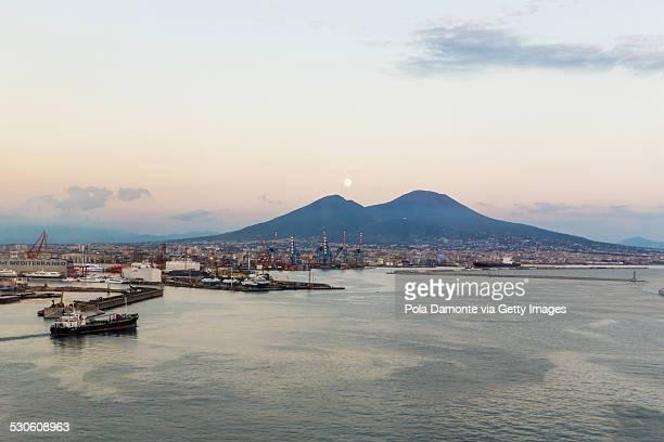 Vesuvius mount and moon