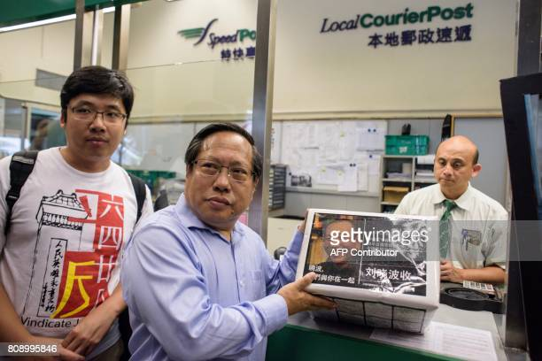 Veteran activist Albert Ho prepares to host a parcel to terminallyill Chinese Nobel laureate Liu Xiaobo at the General Post Office in Hong Kong on...
