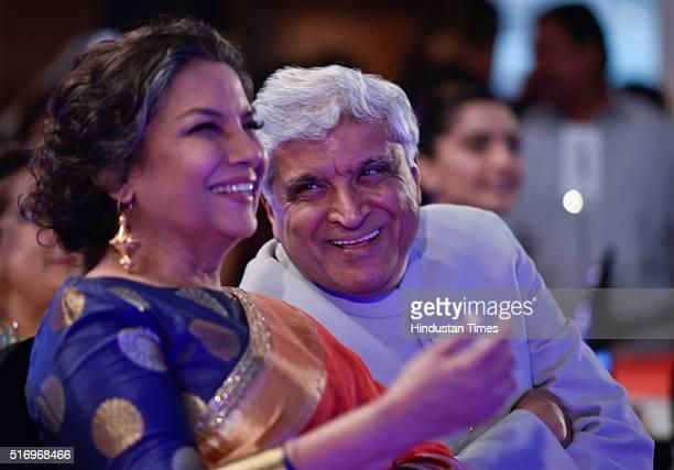 Veteran actor Shabana Azmi and Javed Akhtar during Hindustan Times Most Stylish Awards 2016 at Taj Lands End Bandra on March 20 2016 in Mumbai India