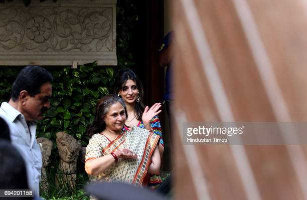 Veteran actress Jaya Bachchan with her daughter Shweta seeing off the guests who came to attend daughterinlaw Aishwarya Rai Bachchan's 'God Bharai...