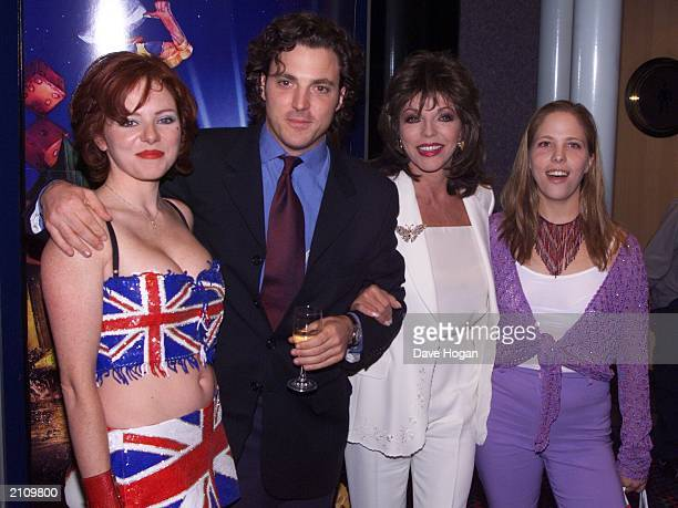 Veteran actress Joan Collins and her children Tara Sacha and Katie at the premiere of 'The Flintstones in Viva Rock Vegas' in London on July 25 2000...