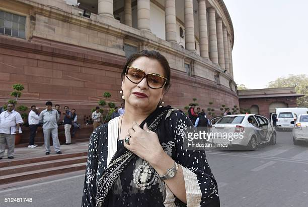 Veteran actress Salma Agha at Parliament during the Budget Session on February 26 2016 in New Delhi India Both the Houses of Parliament today...