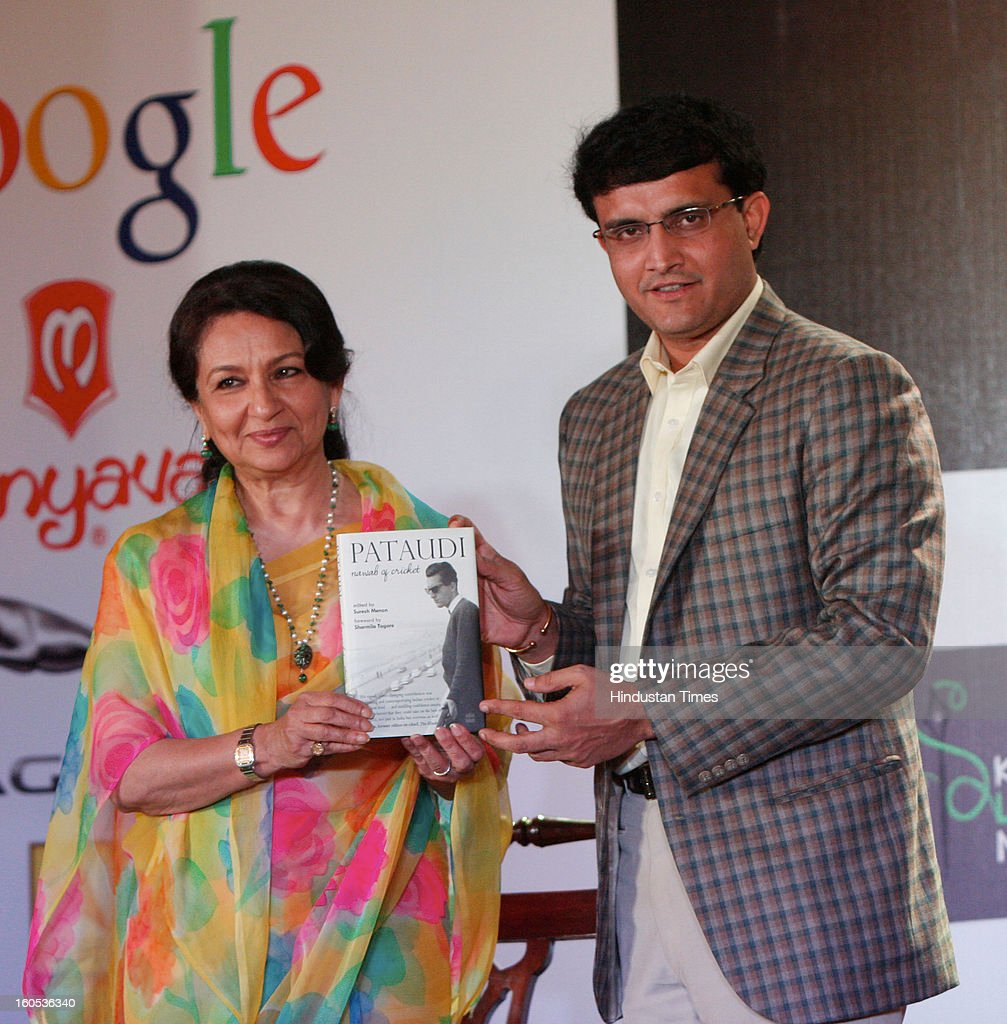 Veteran actress Sharmila Tagore with Indian cricketer Sourav Ganguly release The book 'Pataudi Nawab of cricket' at Kolkata Literary Meet 2013, on February 2, 2013 in Kolkata, India.