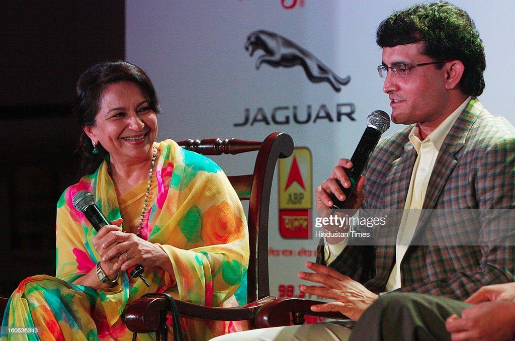 Veteran actress Sharmila Tagore with Indian cricketer Sourav Ganguly release The book 'Pataudi Nawab of cricket' at Kolkata Literary Meet 2013, on February 2, 2013 in Kolkata, India.
