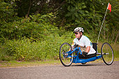 Veteran amputee participating in a handcycle race
