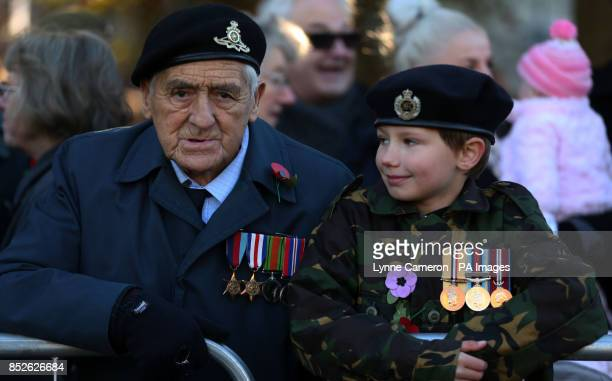 A veteran and youngster during the Remembrance Sunday service in York