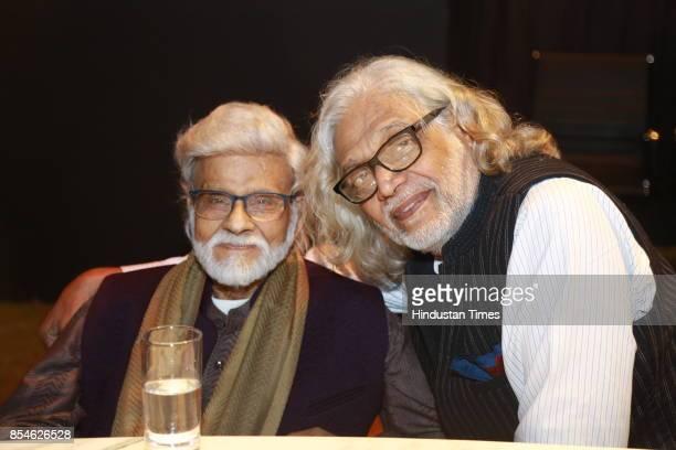 Veteran artist Satish Gujral and Filmmakerdesigner Muzaffar Ali during an art exhibition organised by veteran artist Satish Gujral on September 22...