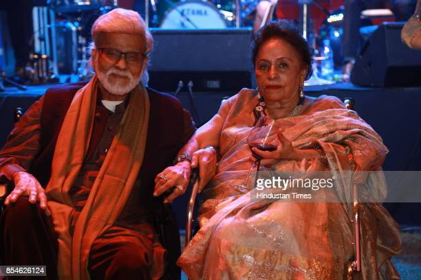 Veteran artist Satish Gujral and Kiran Gujral during an art exhibition organised by veteran artist Satish Gujral on September 22 2017 in New Delhi...