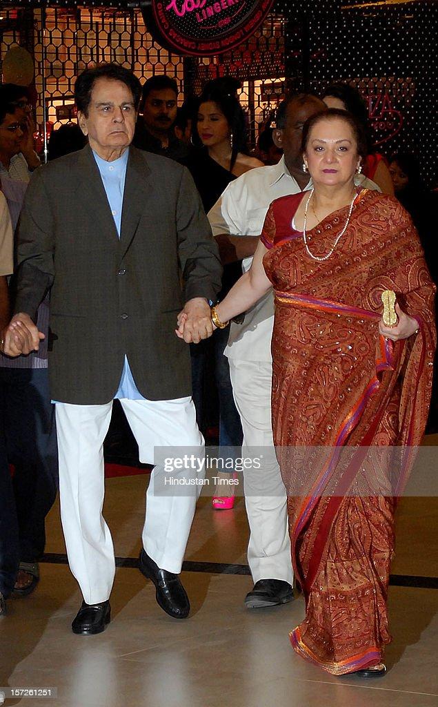Veteran Bollywood stars Dilip Kumar with his wife Saira Banu attending special screening of Film 'Talaash' at Phoenix Marketcity Mall, Kurla on November 29, 2012 in Mumbai, India.