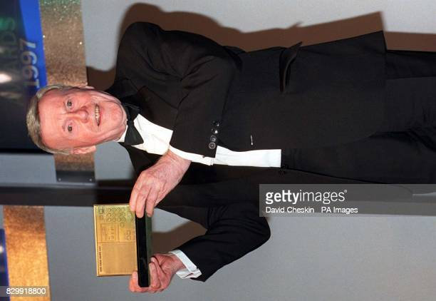 Veteran broadcaster Jimmy Young proudly holds up his Award after being named winner of the 'Sony Gold Award' one of the most prized in broadcasting...