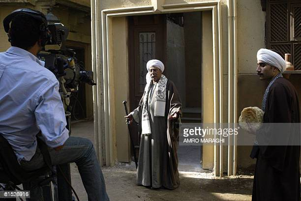 Veteran Egyptian actor Salah alSaadani acts during a shooting session May 27 2006 at Cairo's AlAhram studios of the new TV series 'Haret alZaafarani'...
