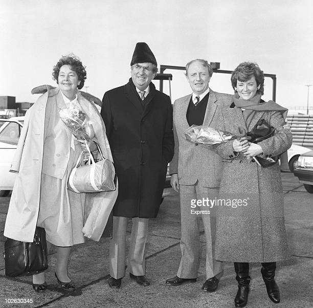 Veteran MP Denis Healey stands with leader of the British Labour Party Neil Kinnock and their wives Edna Healey and Glenys Kinnock on November 21 1984