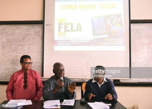 Veteran music columnist author and first manager of Nigerian musical legend Fela AnikulakpoKuti Benson Idonije is watched by Head Department of...