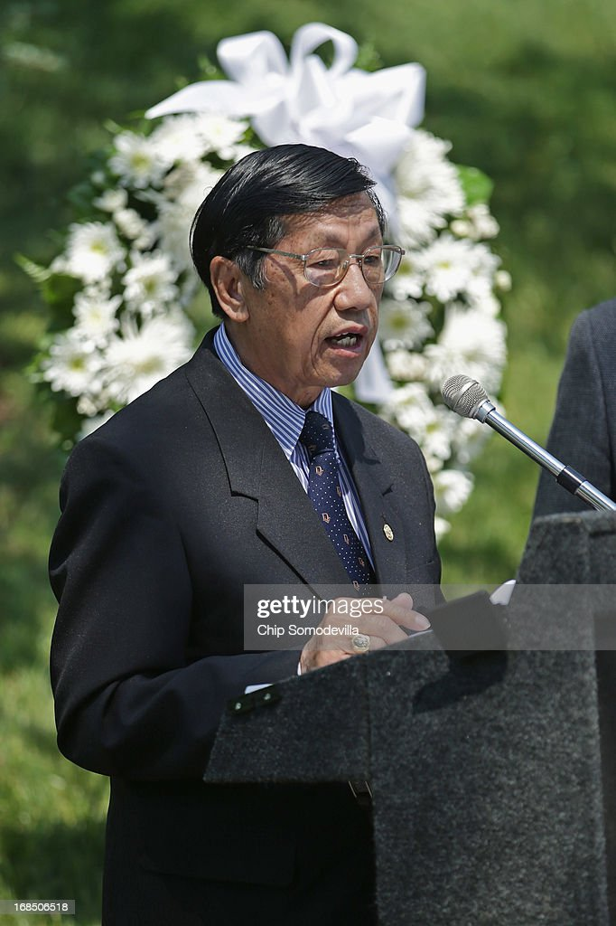 A veteran of the United States' secret Lao Theater, Colonel Wangyee Vang, president of the Lao Veterans of America, speaks during a memorial and wreath-laying ceremony at the plaque dedicated to the U.S. Secret Army in the Kingdom of Laos in Arlington National Cemetery May 10, 2013 in Arlington, Virginia. Supported by the United States and the Central Intelligence Agency from 1961 to 1973, the secret army of Hmong and Lao combat soldiers fought in the jungles of Southeast Asia during the Vietnam War.