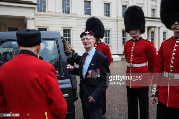 Veteran of World War II Frederick Glover gets in to a black cab during a photo call for the launch of the Veterans Black Cab ride at Wellington...