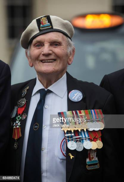 Veteran of World War II Harry Grew is pictured during a photo call for the launch of the Veterans Black Cab ride at Wellington Barracks on February...