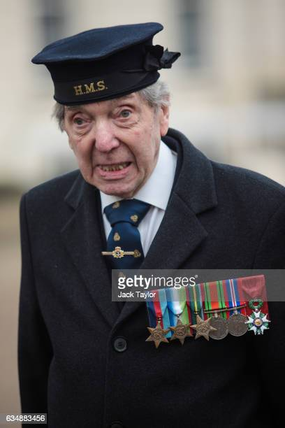 Veteran of World War II Peter Kent is pictured during a photo call for the launch of the Veterans Black Cab ride at Wellington Barracks on February...