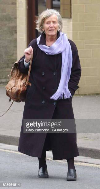 Veteran peace campaigner Lindis Percy outside the Magistrates Court in Cirencester where she went on trial charged with breaching security at an...