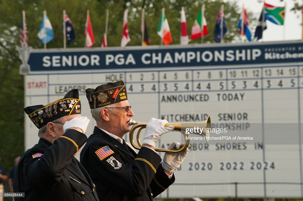 Veteran plays taps during the first round for the 77th Senior PGA Championship presented by KitchenAid held at Harbor Shores Golf Club on May 26, 2016 in Benton Harbor, Michigan.