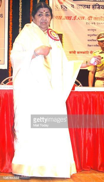 Veteran singer Lata Mangeshkar after receiving the award for Community Services during The 13th Chandrasekarendra Saraswati National Eminence Awards...