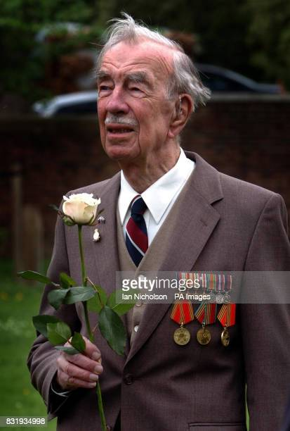 RAF veteran Squadron Leader FA Forbes attends a VE Day remembrance service at the Soviet War Memorial in London