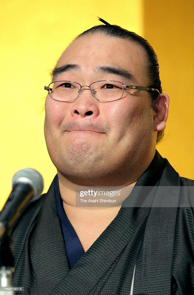 Veteran sumo wrestler Takamisakari, whose real name is Seiken Kato, speaks during a press conference on his retirement on January 21, 2013 in Tokyo, Japan.