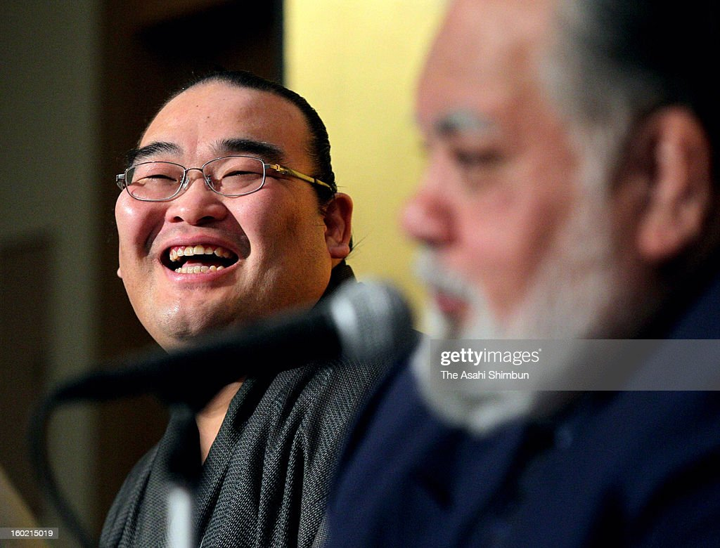 Veteran sumo wrestler Takamisakari, whose real name is Seiken Kato, smiles during a press conference on his retirement on January 21, 2013 in Tokyo, Japan.