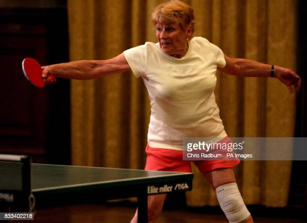 Veteran table tennis champion Edna Fletcher during a game against Japanese Table Tennis prodigy Mima Ito held at Great Yarmouth Town Hall Norfolk