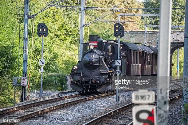 Veteran train with old steam engine locomotive, Copenhagen, Denmark
