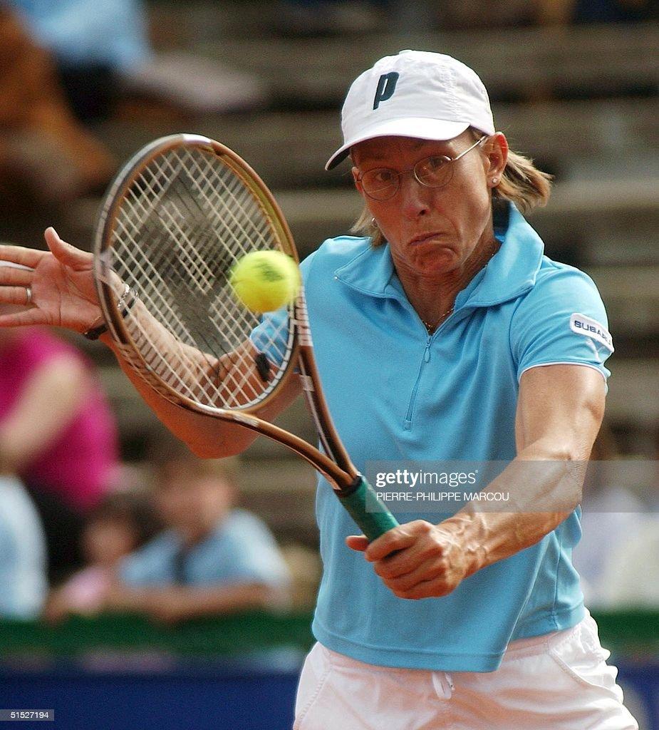 Veteran US player Martina Navratilova returns the
