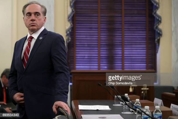 S Veterans Affairs Secretary David Shulkin prepares to testify before Senate Veterans' Affairs Committe in the Russell Senate Office Building on...