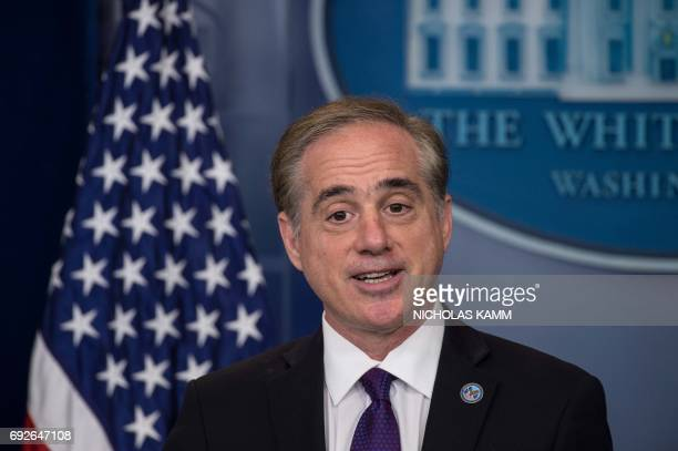 US Veterans Affairs Secretary David Shulkin speaks during the press briefing at the White House in Washington DC on June 5 2017 / AFP PHOTO /...