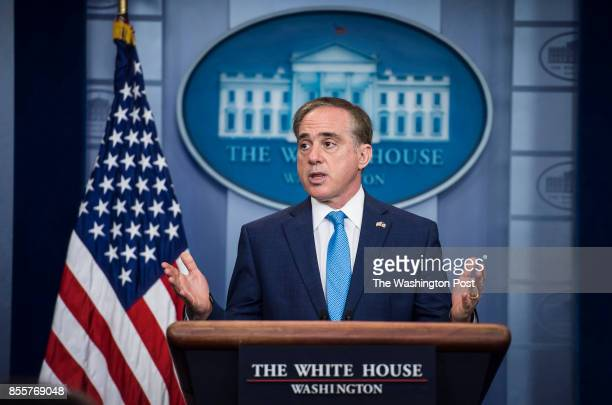 Veterans Affairs Secretary David Shulkin speaks to reporters and members of the media during a press briefing at the White House in Washington DC on...
