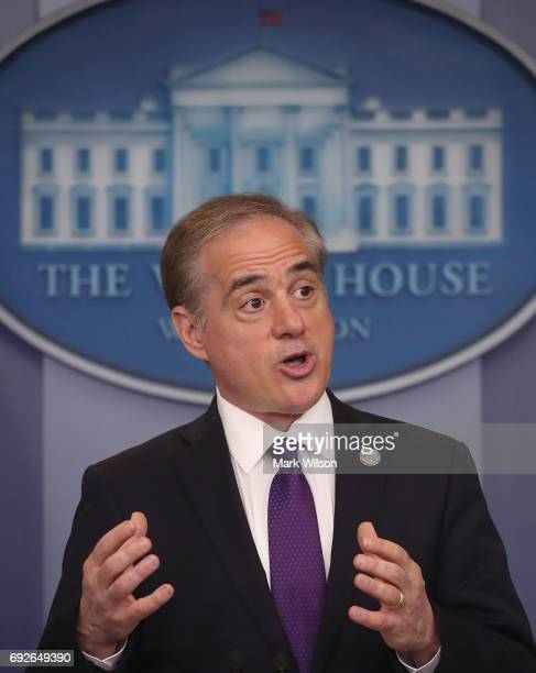 Veterans Affairs Secretary David Shulkin talks about plans to revamp the department's information technology system during a press briefing at the...