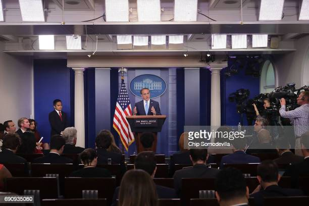 S Veterans Affairs Secretary David Shulkin talks to reporters in the Brady Press Briefing Room at the White House May 31 2017 in Washington DC...