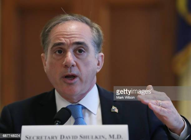Veterans Affairs Secretary David Shulkin testifies during a House Veterans' Affairs Committee hearing on Capitol Hill May 24 2017 in Washington DC...